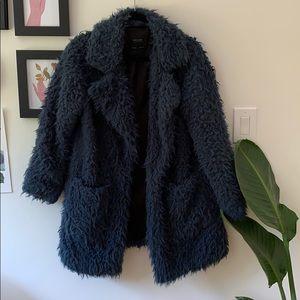 Blue faux fur Zara coat